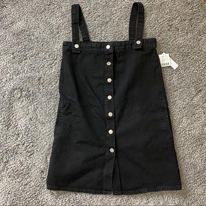 UO Aria Denim Straight-Neck Overall Dress